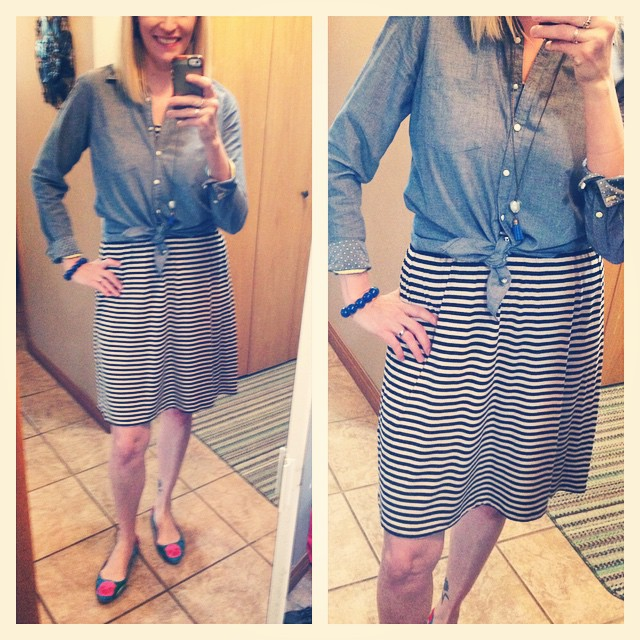 $5 striped dress, $6 chambray and $2 shoes.