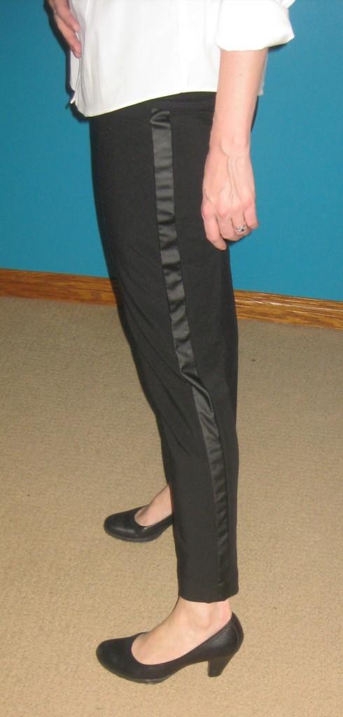 "Vegan leather (cough cough cop-out term cough cough) tuxedo stripes make these pants ""basic+"""