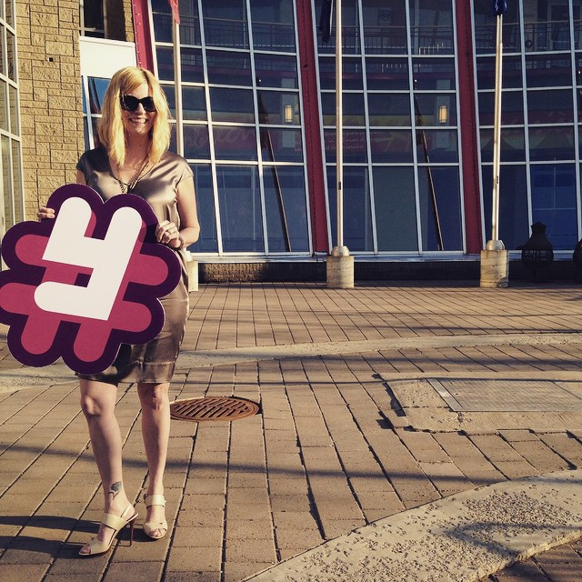 Made it to the @yeggies and didn't even break my ankle walking down the stairs in my stilettos! #winning