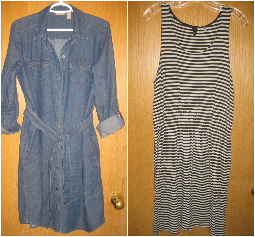 1. Chambray dress $4, 2. Striped dress $5