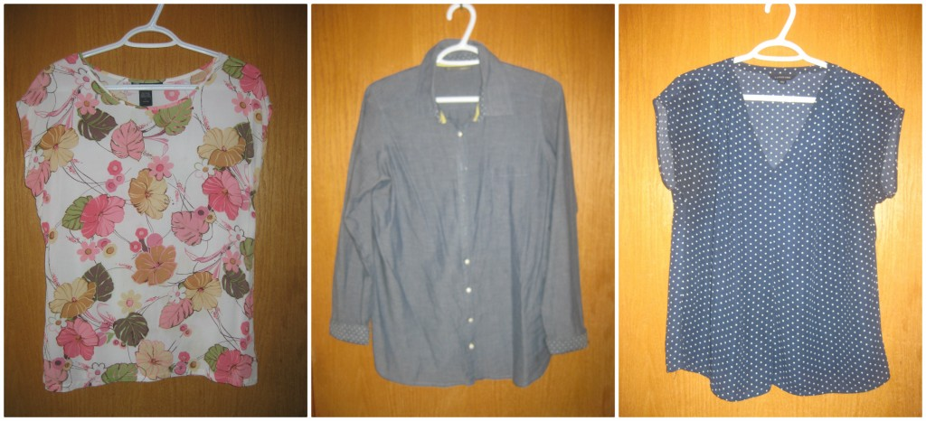 8. floral blouse $2, 9. chambray $6, 10. polka dot Land's End $3.50