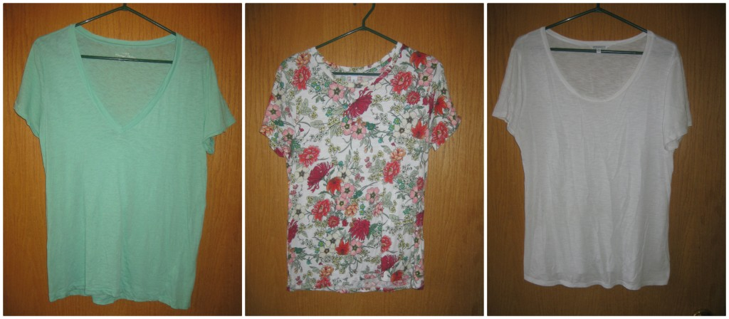 3 short sleeve tees ($4.20, $6 and from my closet)