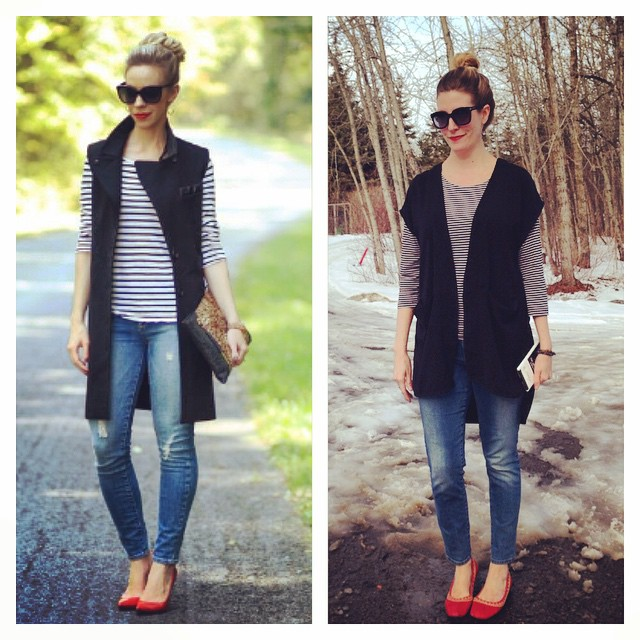 I simply LOVE this long black vest - so easy to wear, so chic!