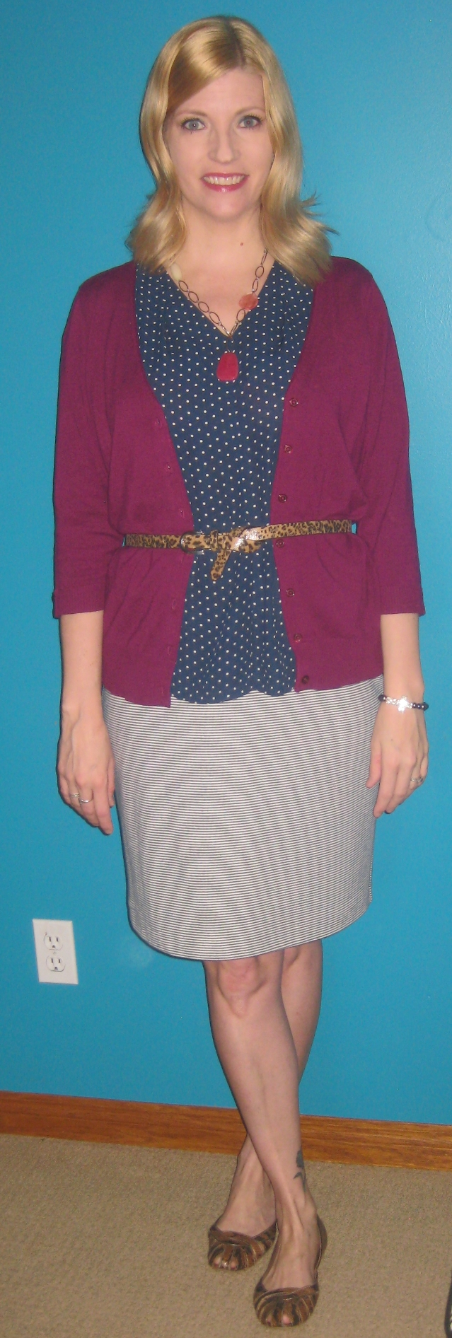 Core item #5 stripe skirt $3.50, core item #10 polka dot top $3.50, raspberry cardi extra $4.50, belt gifted but thrifted and shoes $3 plus accessories from my closet