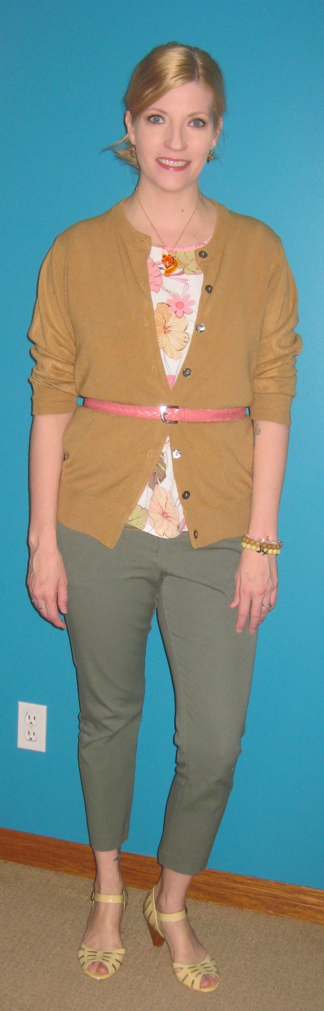 Core item #6 sage pants $5, core item #8 floral blouse $2, camel cardi extra $3.50 plus Miz Mooz shoes and braided leather belt.