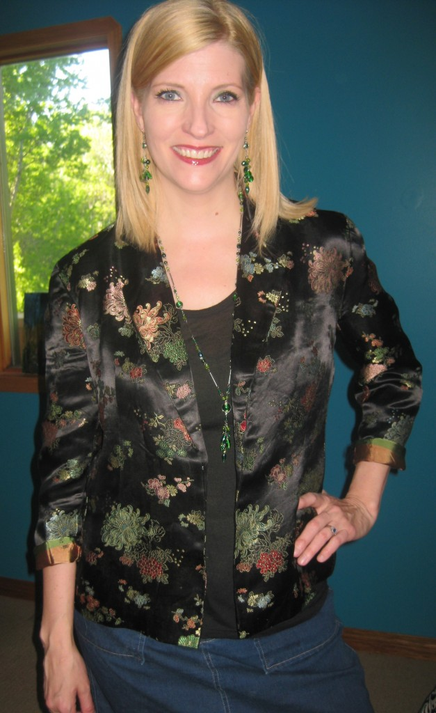Homemade blazer $5.60, black tee from my closet, earrings and necklace Accessorize from my closet