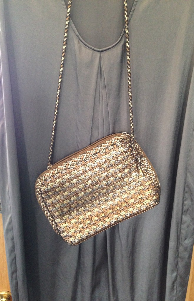 This woven-leather metallic bag was $4.90.