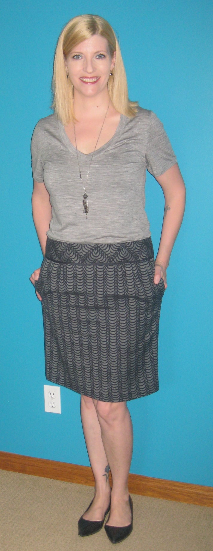 Ice Breaker grey tee from my closet, Club Monaco skirt $7.70, pointy flats $7 plus She Does Create pendant.