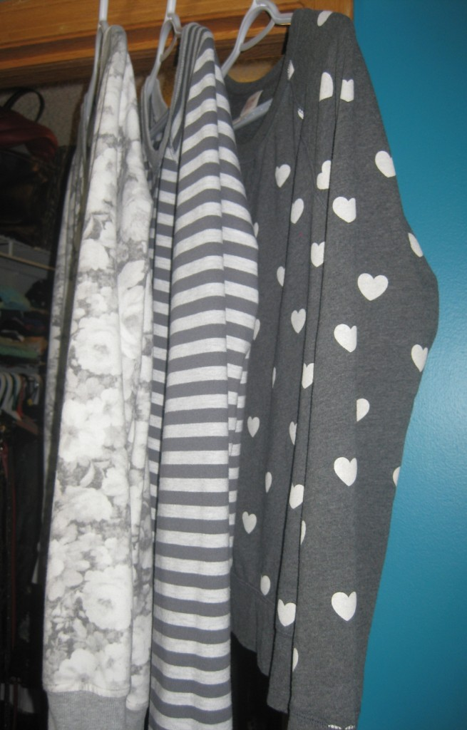 Turns out I'm a collector of grey patterned sweatshirts.  Scored the heart print last summer and the other two this weekend for $4.20 a piece.