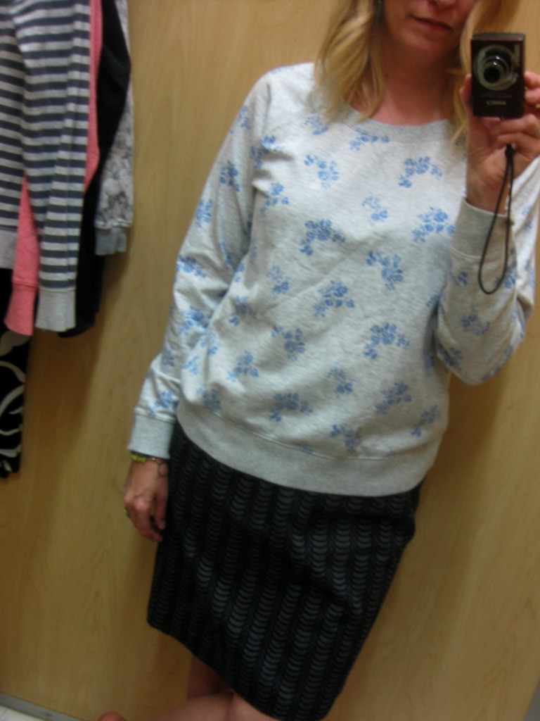 As for me, well, I was hunting for a sporty sweater.  I liked this blue floral but passed it up for the 2 grey-print ones in the queue!