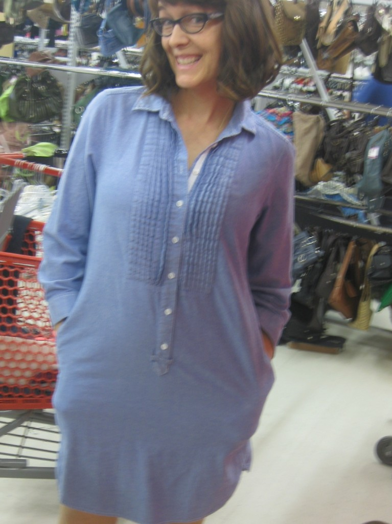Randa was missing a perfect popover chambray dress in her life, till now!  $9.10 for this versatile beauty with our 30% discount card!