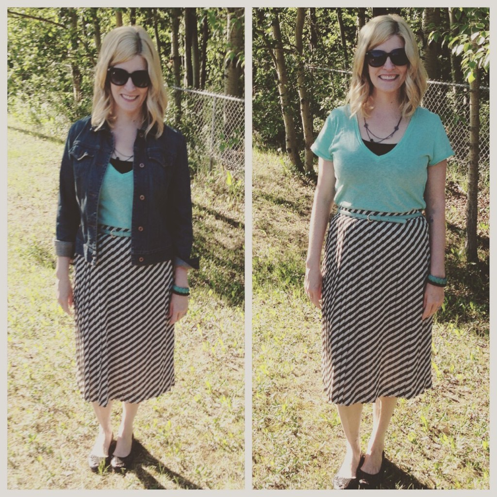 Vintage pleated striped skirt $4.90, J Crew tee $4.20, mint belt $2.80, Frye flats $9.10 plus accessories and denim jacket from my closet