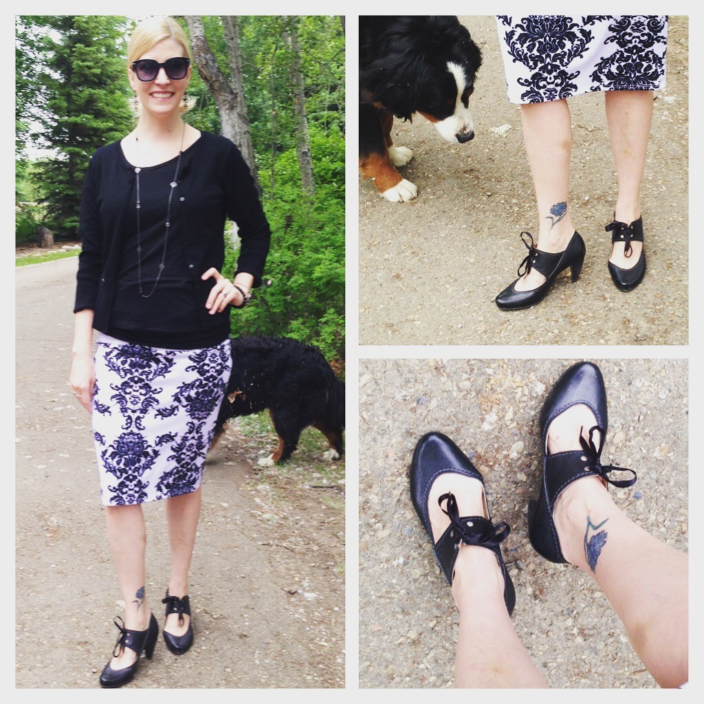 Midi pencil skirt and black tops from my closet, thrifted Fly London shoes $13.30