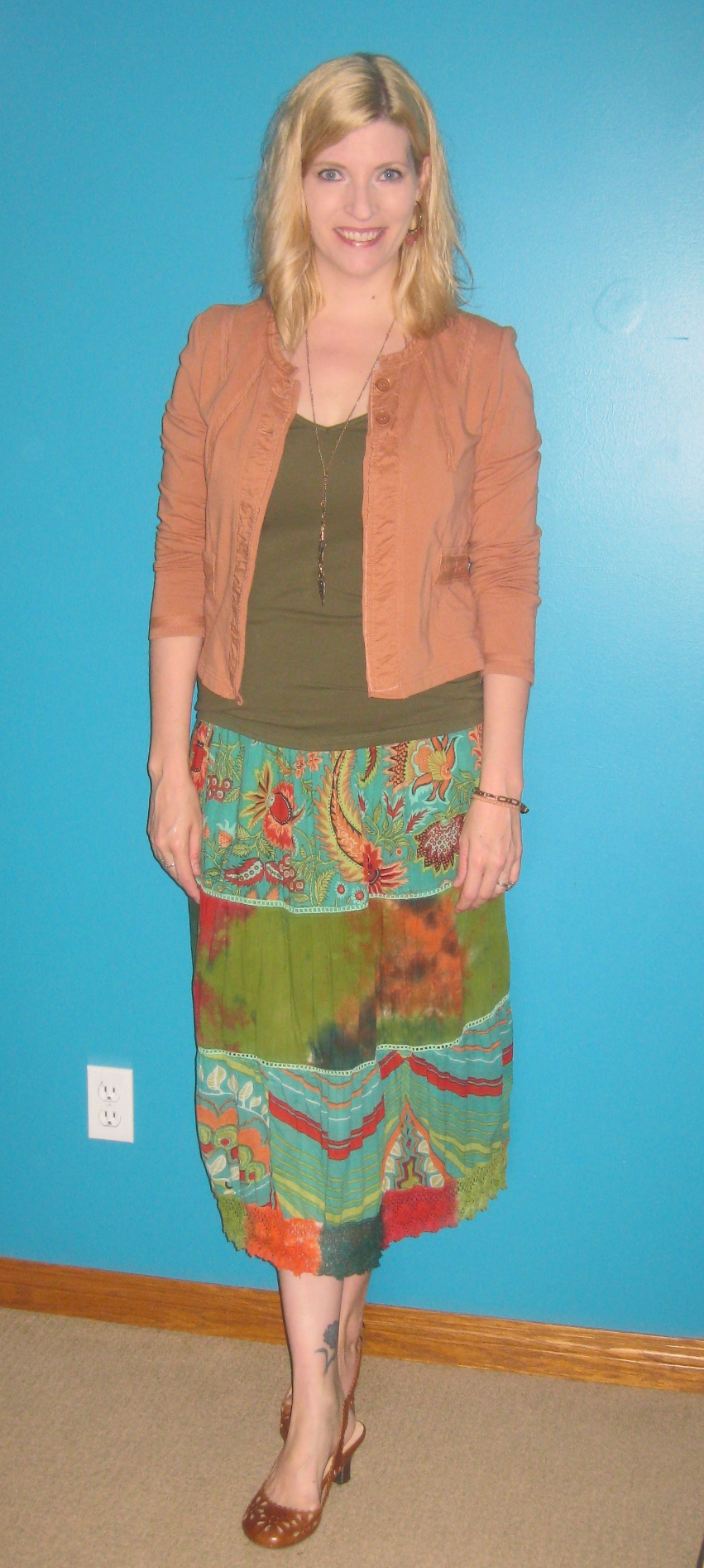 Midi skirt $2.50 Hope Missions Bargain Shoppe, olive tank $4 Value Village, Sandwich structured cardi $5 Salvation Army Thrift Store, Metal feather necklace  $2.50 Salvation Army Thrift Store and Miz Mooz slingbacks $9.80