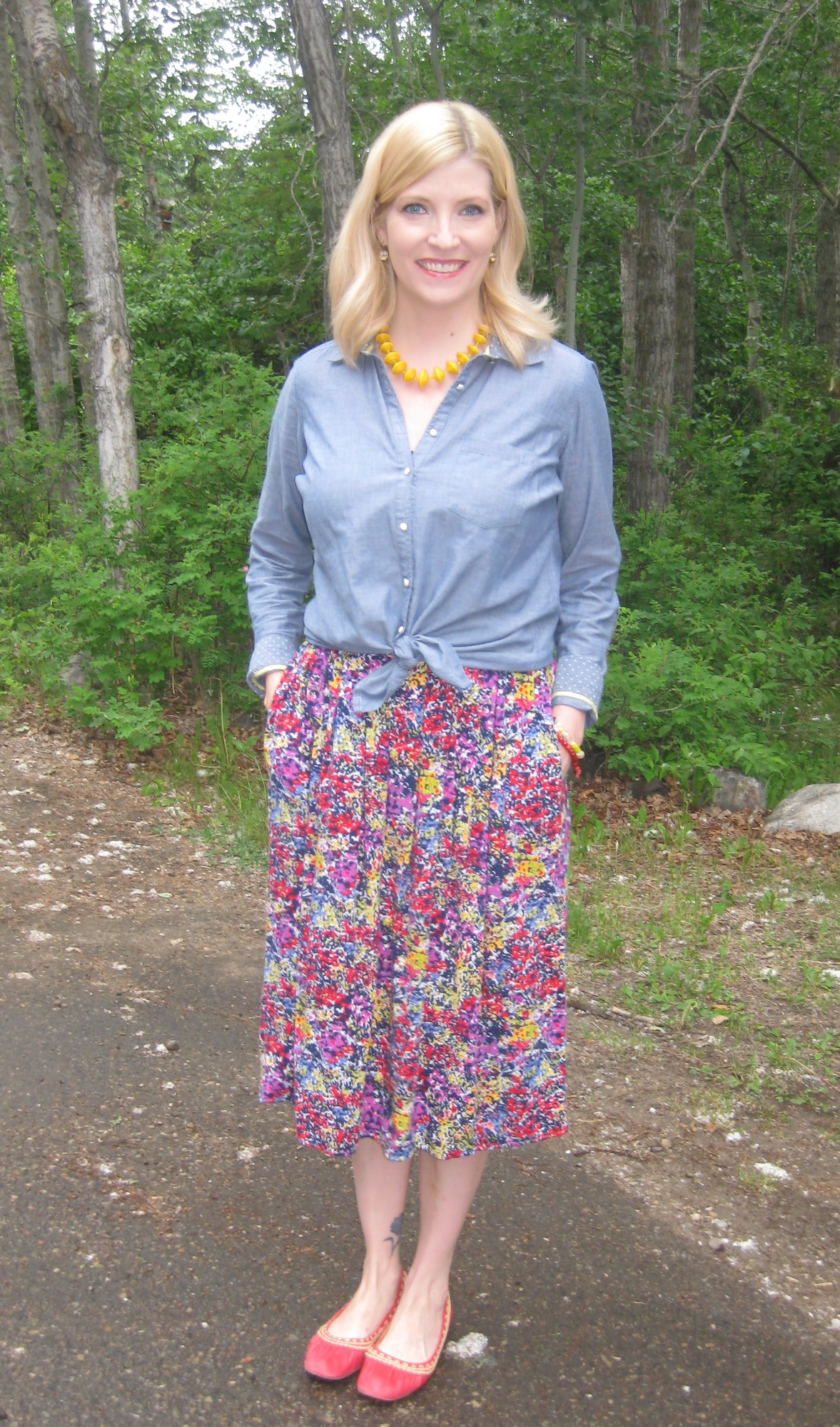 Vintage midi skirt $3.50 and Miz Mooz red flats $13.30 from Value Village, chambray $6 from Salvation Army Thrift Shop, I Am Just One yellow necklace, She Does Create bracelets and earrings.
