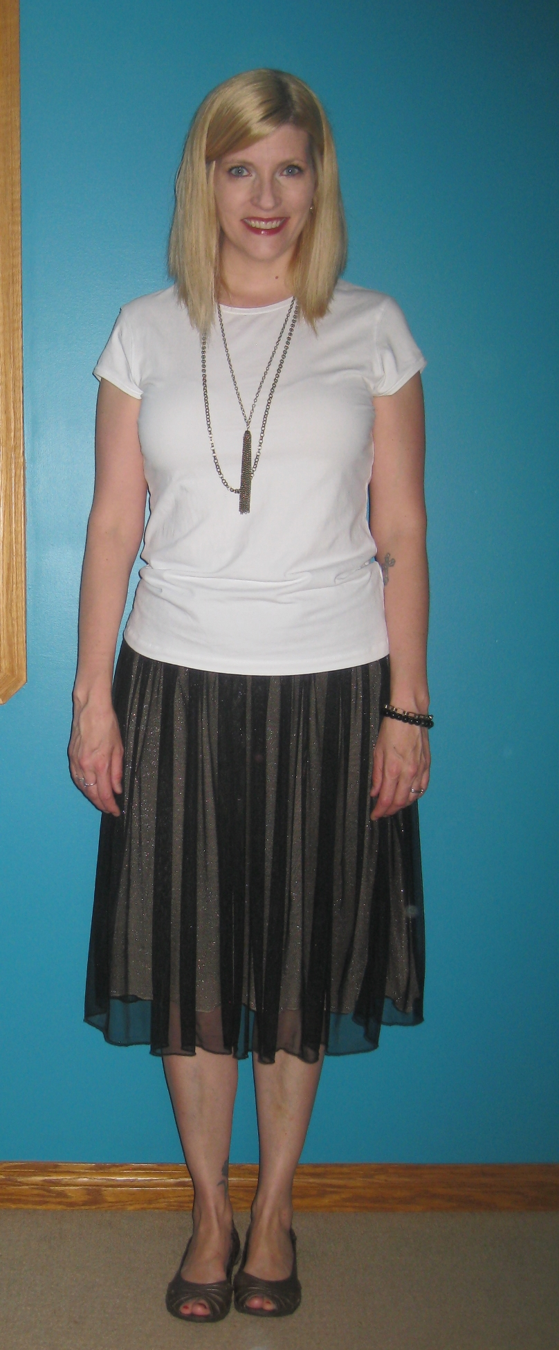 Tulle skirt $7, tee $3.50, Skechers metallic flats from my closet, secondhand necklace from school fundraiser