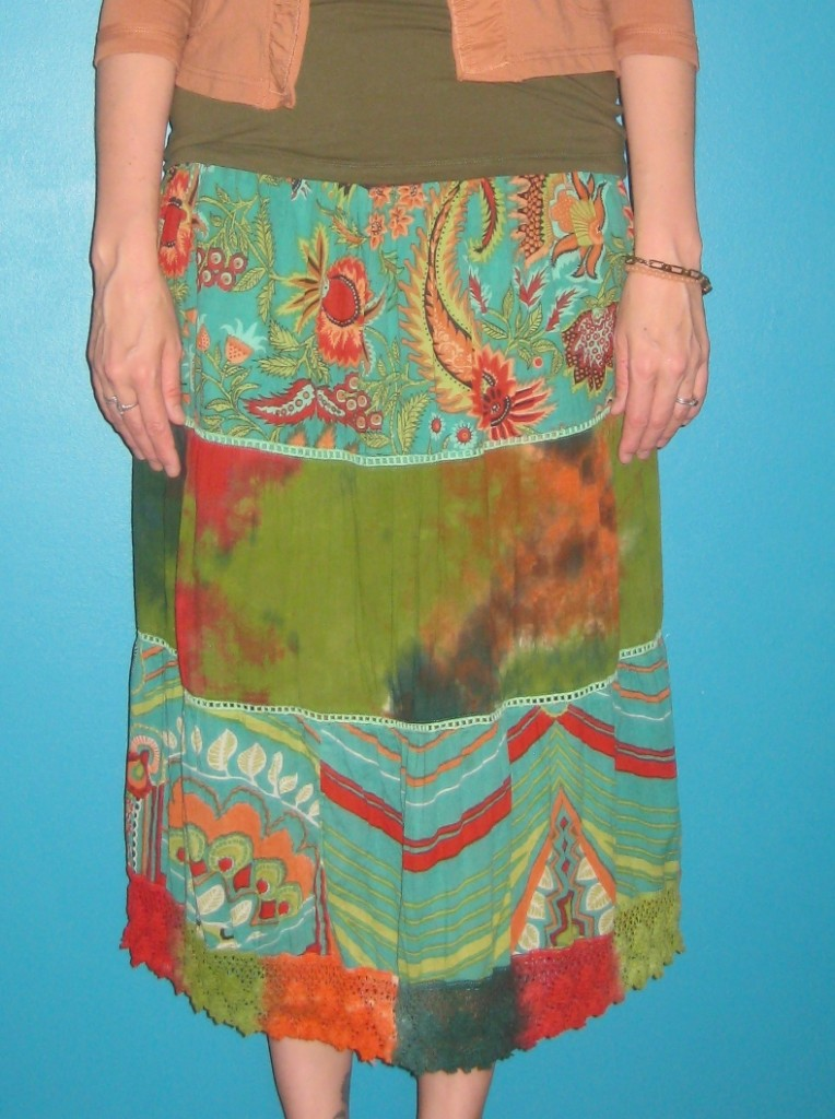 This skirt has a stretchy band at the top... in fact it might be a strapless sundress.