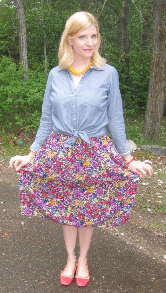 The skirt is full yet drapes nicely over my curves!