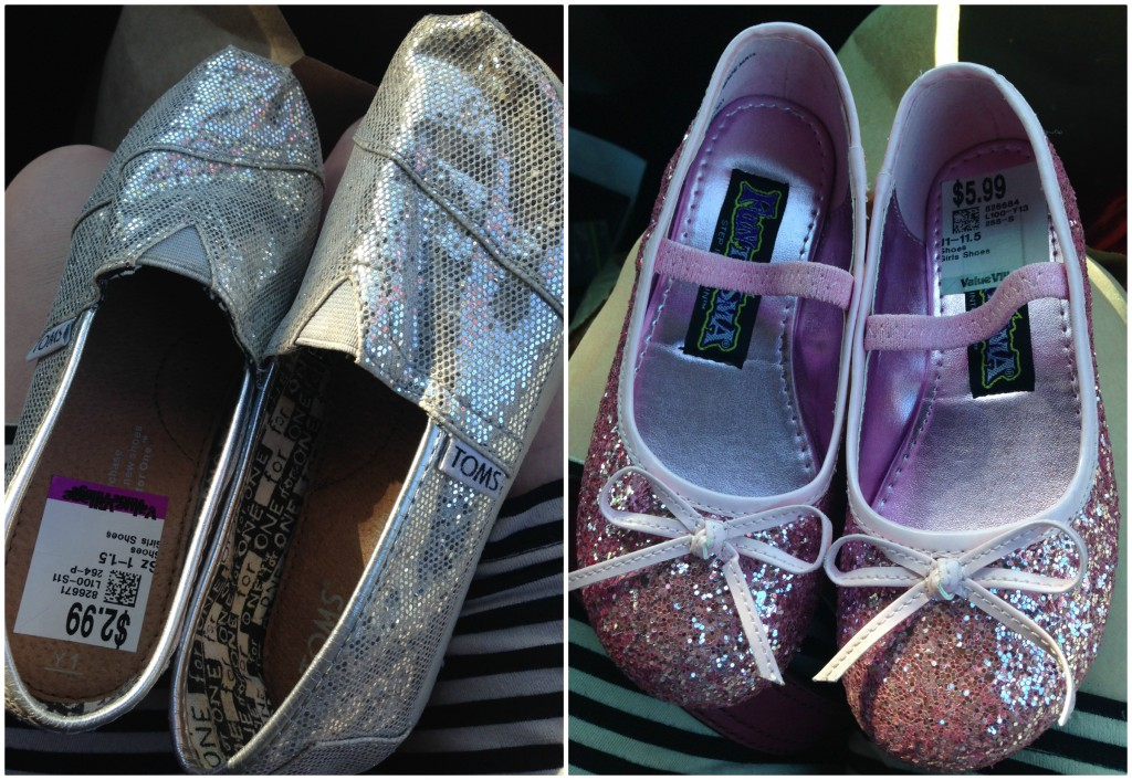 I scored some sparkly shoes for my daughter including Toms that she will grow into soon enough!  Great price!