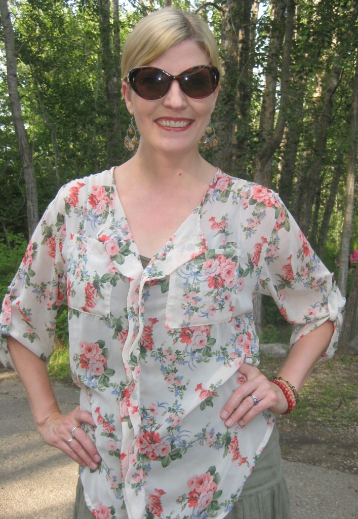 The blouse is flowy too, long-sleeved but sheer - light and airy for a summer evening!