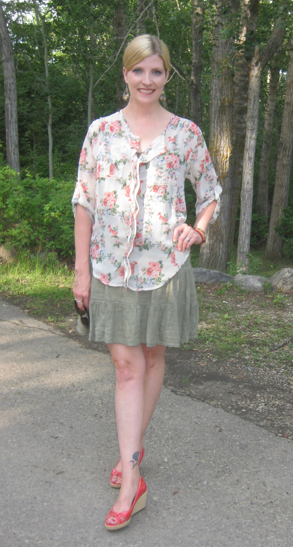 Floral blouse $3.50, olive skirt from Refind Consignment $13.60, coral wedges $7.70
