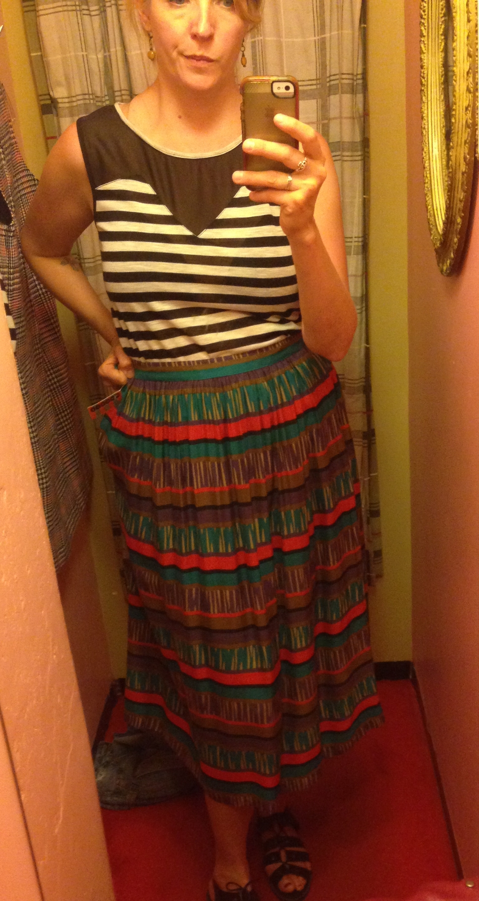 This midi skirt was awesome, but the thing about vintage sizing is that they fit small.  There was no Voodoo Doughnuts back then.