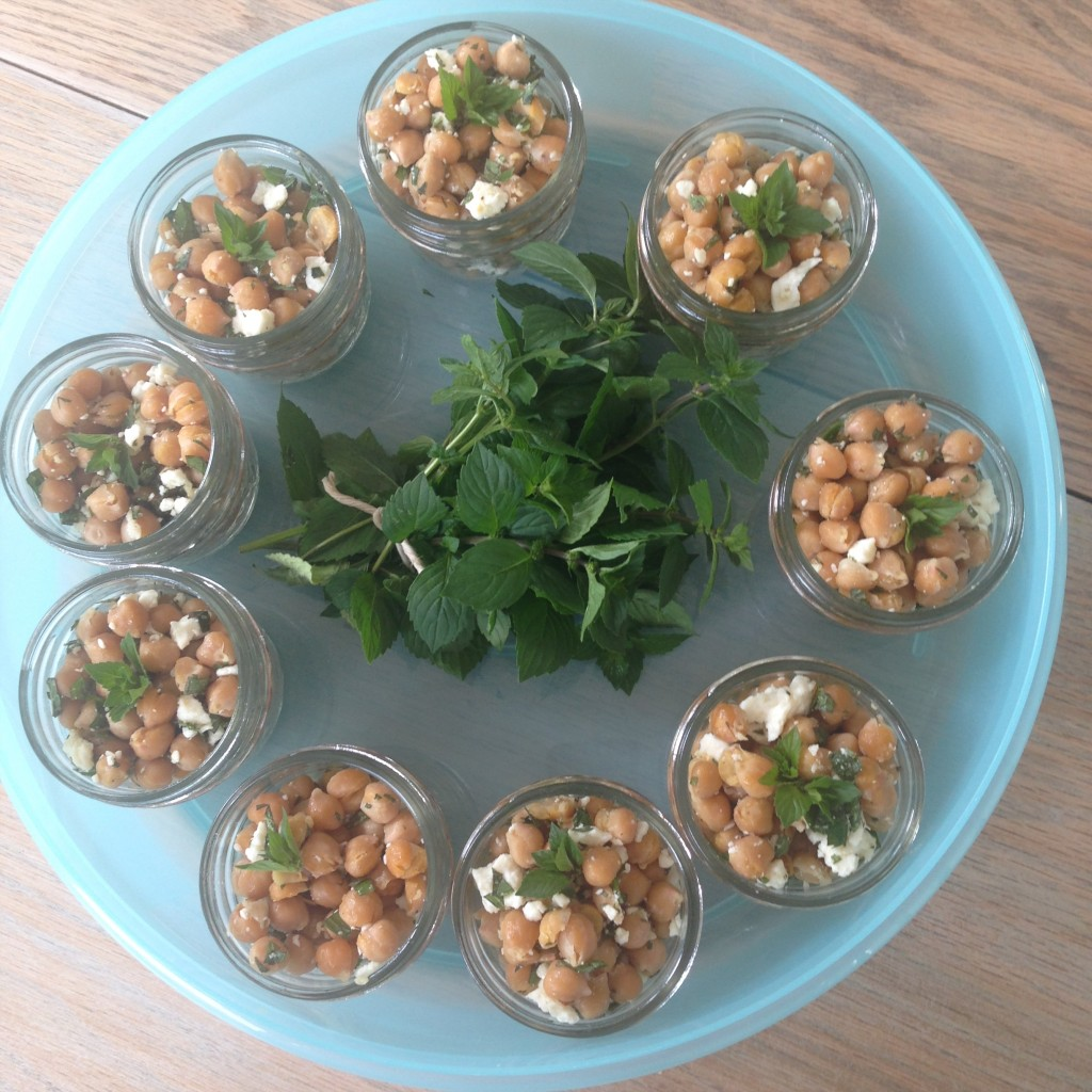 Chickpea and mint salad in darling little mason jars brought by Natalie!
