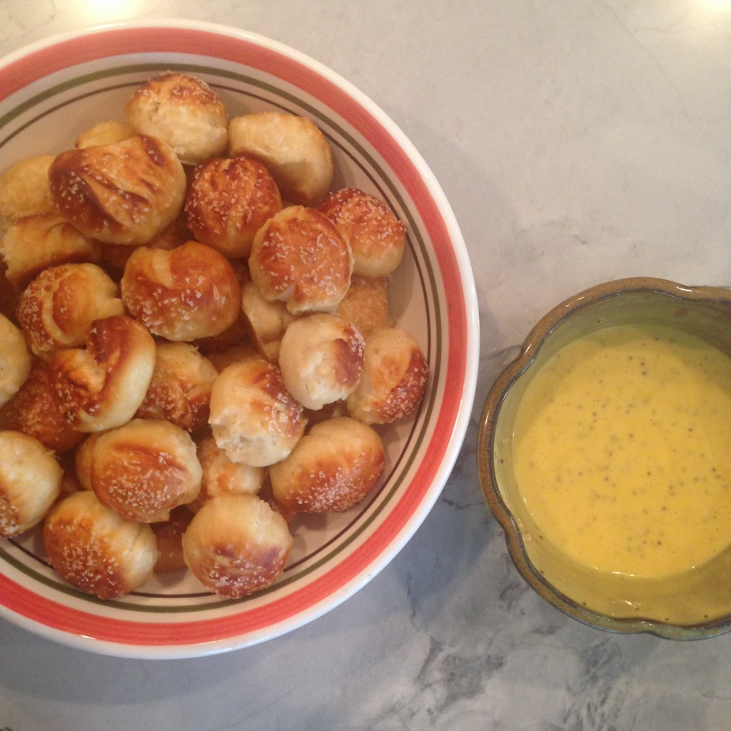 Soft pretzel tots and honey mustard sauce brought by yours truly!