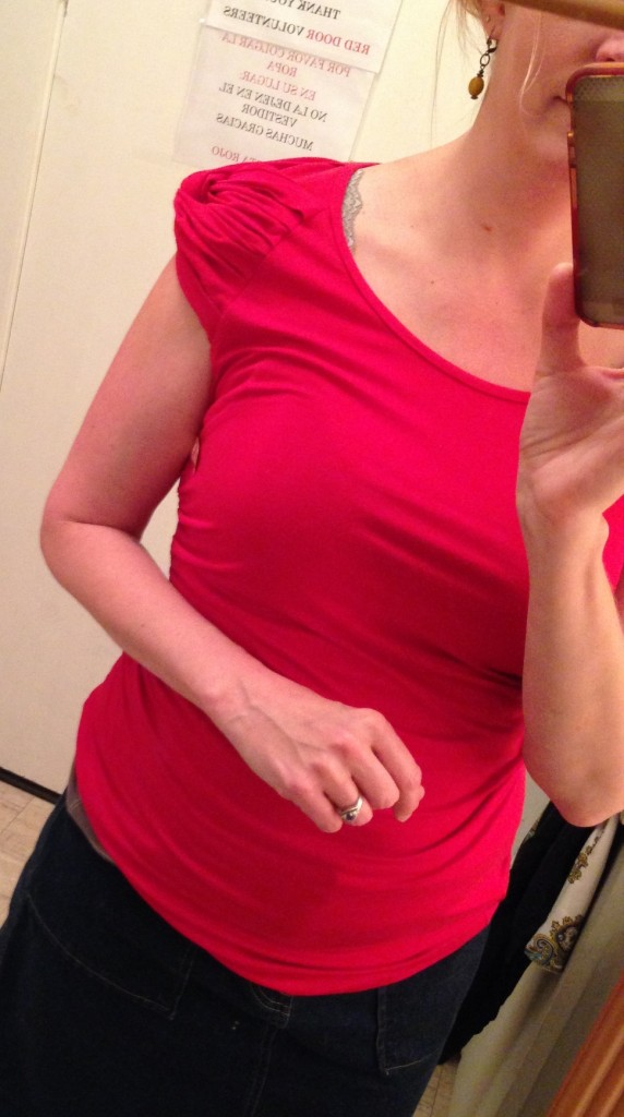 I found a couple pieces to try on including this Ann Taylor top... nice colour but what's with the sleeves?