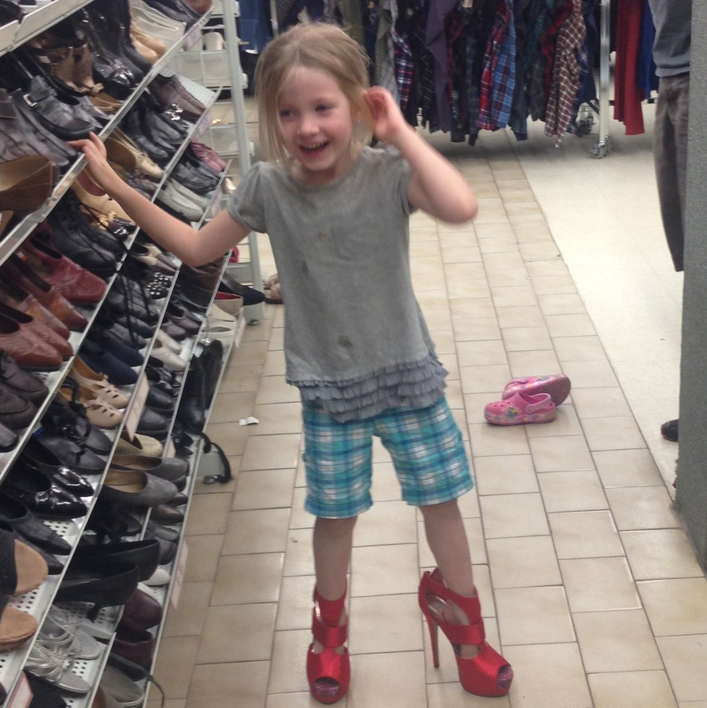 What can I say, the girl likes red shoes like her momma.