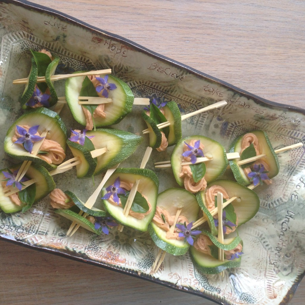 Zuchini, lavender and salmon pate skewers brought by Susan.