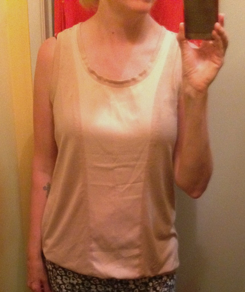 Simply Vera Wang blush-nude sleeveless top $2.50