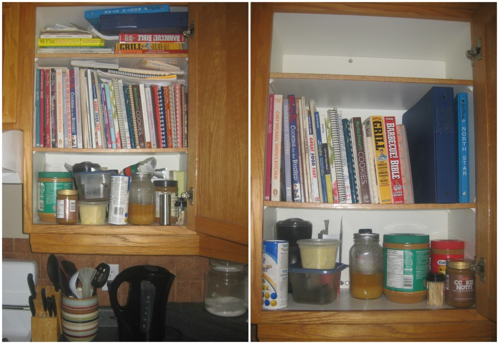 Since we were just talking about coffee, here's my coffee/cookbook cupboard before and after. Why on earth was I holding onto all those cookbooks that I NEVER use and old instant coffee??!! I looked at that every dang day for the past 6 years. I feel better already.