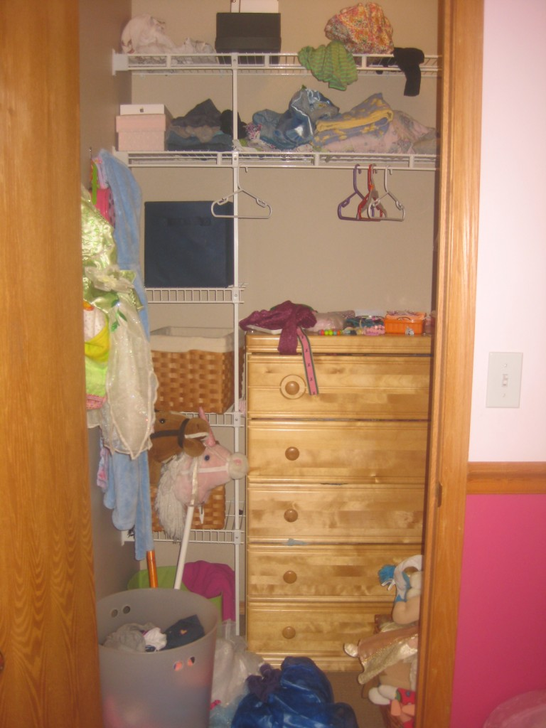 Her dresser is in her closet, but it's basically inaccessible.