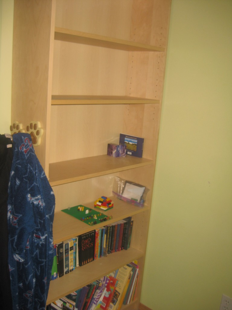 The book shelf however has tons of space - they will use the upper shelves to hold Lego creations because you DO NOT mess with those.