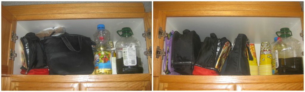 This cupboard NOW holds all our lunch kits so they can be put away when not in use. AMAZING!