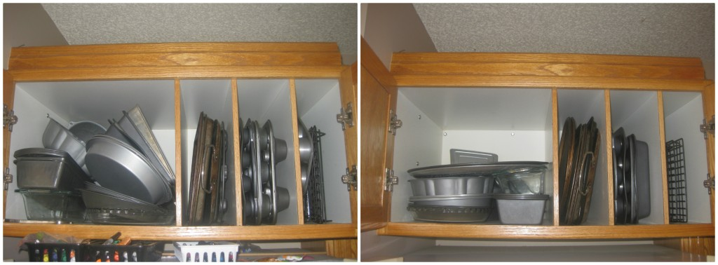 This cupboard above the fridge holds cookie sheets, etc. I had more wire racks than one girl could ever need, not to mention old rusty sheets and TWO spring-form pans.