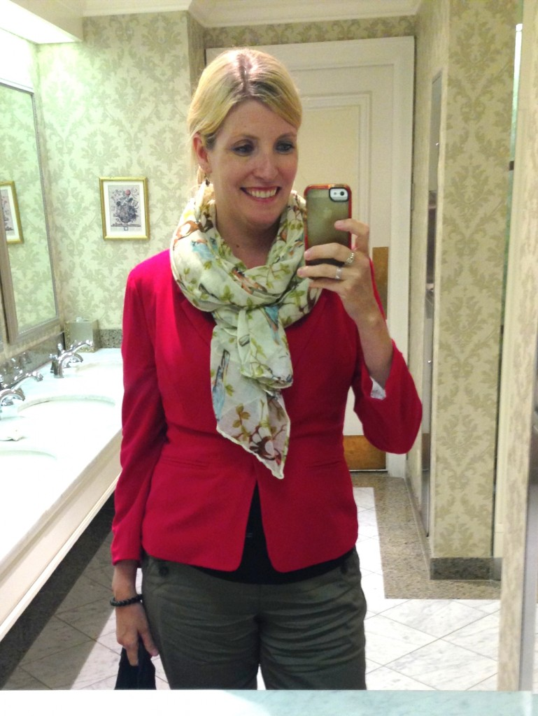 Obligatory bathroom selfie.  I love you, Bird-Print Scarf.