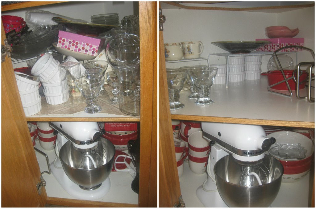 The bottom corner cupboard is like a dark hole (when there's no flash). I donated at least 10 vases!!! Got rid of crystal glasses that we have moved from place to place for 16 years and NEVER ONCE USED. I kept my Christmas dishes because they are huge and make giant portions seem normal.