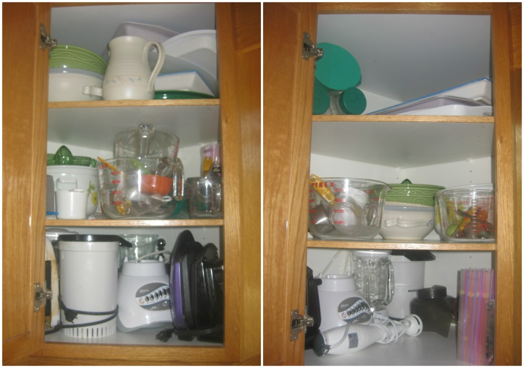 Working my way clockwise around the kitchen, this corner cupboard has NEVER been organized... till now!