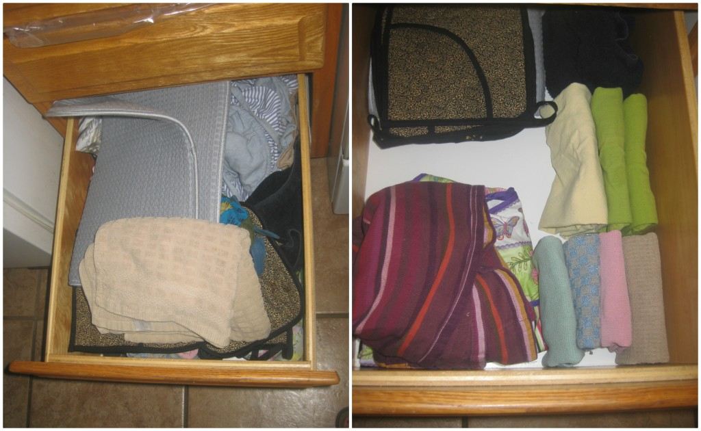 I could barely close this drawer and unbeknownst to me, I had one million aprons and no tea towels. See what you learn when you Konmari?!!