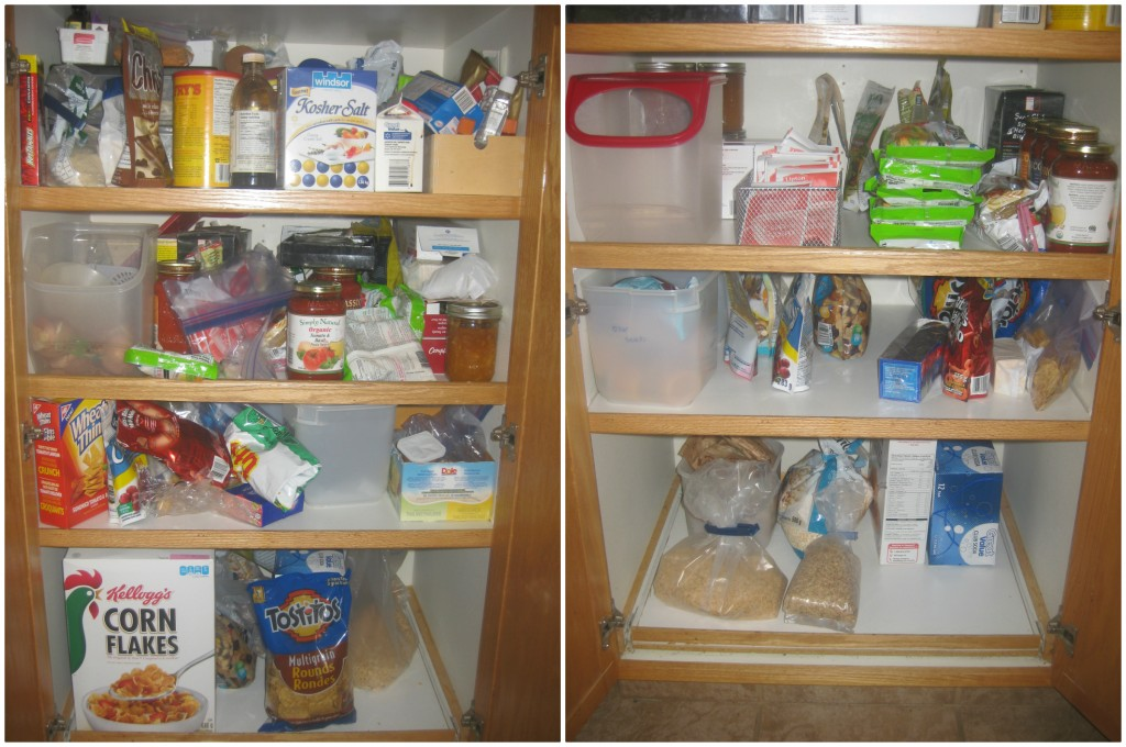 The bottom half of the pantry including the snack and cereal shelves, and baking stuff. I KNOW WHERE EVERYTHING IS!! That is a huge mental burden lifted!
