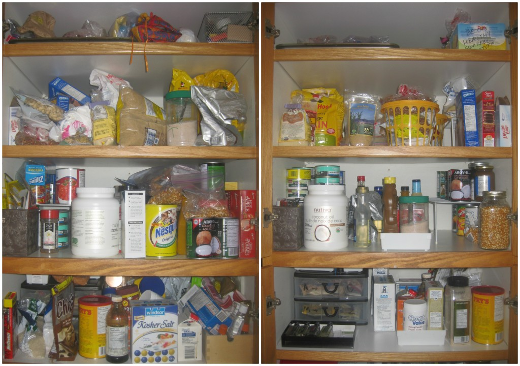 And now for my pantry. You can't tell, but in the after shot, the flours and sugars are lined up in rows like little baking soldiers.