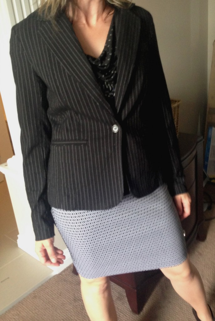 You can add a blazer *even* if it has pin stripes.