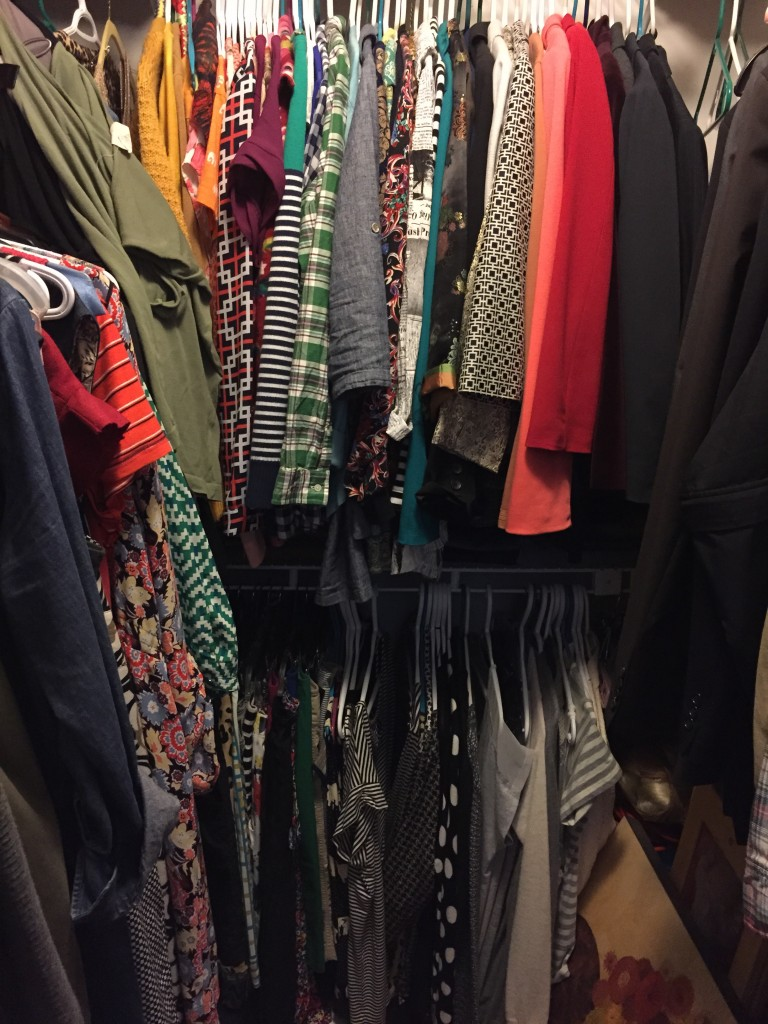 The back racks hold my tops and hiding on the shelf underneath them are my folded pants.