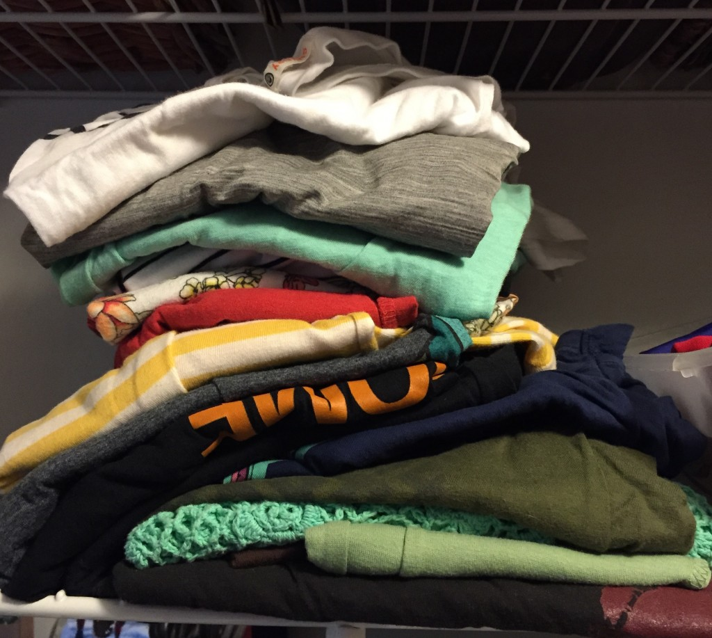 "I have stacked my clothing for years. Only since reading ""The Life Changing Magic of Tidying Up"" did I consider this might not be efficient, although that's plainly evident looking at this photo."