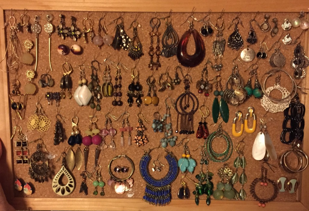 I reorganized my earrings. I have seen other ways of storing earrings but this good ol' corkboard works for me. I like to be able to see what I have.