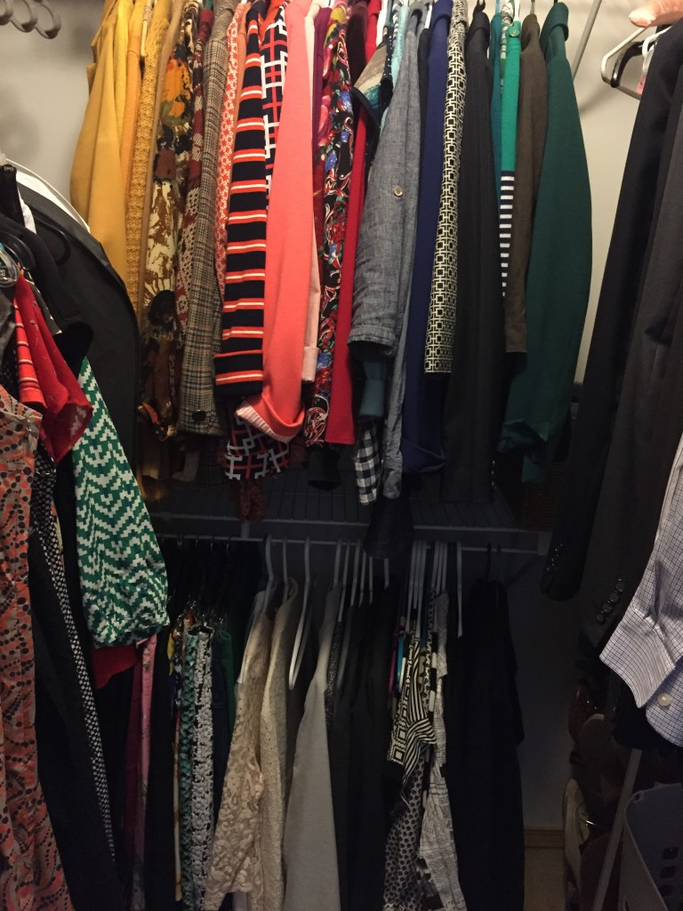 It may not look like there's much gone, but trust me, there is! I like to categorize my clothing by colour and moved my blazers back to their colour section! Kondo recommends black on the left and progressing darker to lighter but I actually forgot about that! Maybe I'll make that change another time!