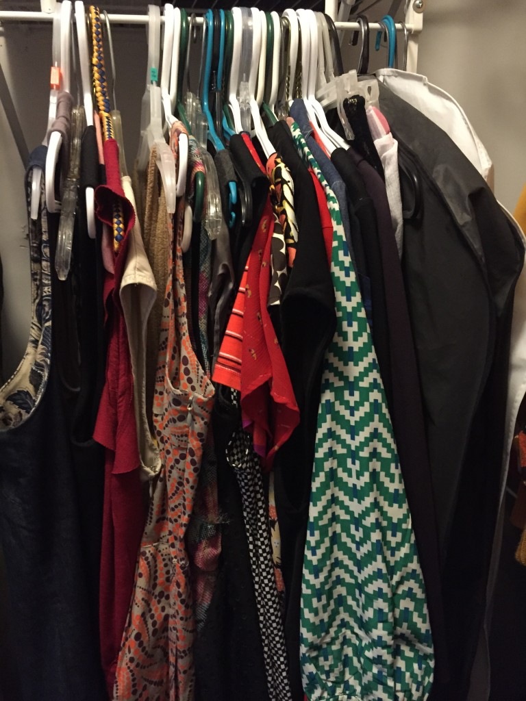 Despite keeping so many dresses, they fit without difficulty in my dress section! I organized them by sleeveless, short sleeves, long sleeves. My seasonal maxi dresses and fancy dresses are in garment bags on the right.