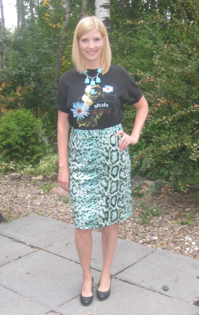 Alanis tee - priceless, Nanette Lepore skirt  $8, Aldo pumps $14 and She Does Create turquoise necklace.